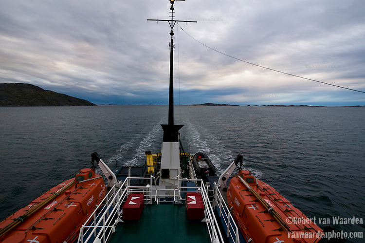 The stern of the Arctic expedition ship, Akademik Shokakskiy, as it sails along Greenland's south coast.