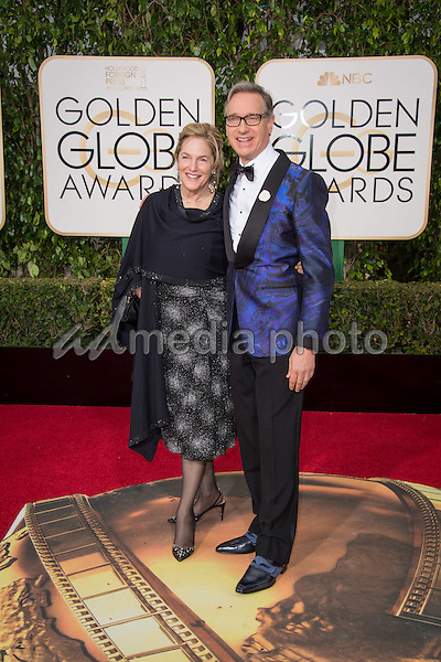 "Paul Feig, director for the Golden Globe Nominated ""Spy"" in the category of BEST MOTION PICTURE – COMEDY OR MUSICAL,  and Laurie Karon arrive at the 73rd Annual Golden Globe Awards at the Beverly Hilton in Beverly Hills, CA on Sunday, January 10, 2016. Photo Credit: HFPA/AdMedia"