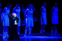 The official ball of Liga Endesa with Real Madrid's players Rudy Fernandez, Jonas Maciulis, Sergio Llull, Anthony Randolph and Gustavo Ayon during match of Liga Endesa at Barclaycard Center in Madrid. September 30, Spain. 2016. (ALTERPHOTOS/BorjaB.Hojas) /NORTEPHOTO.COM