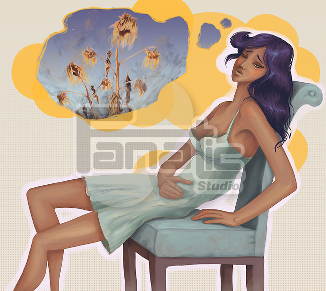 Conceptual shot of dejected woman sitting on chair with thought bubble depicting infertility