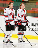 Brittany Esposito (NU - 7), Annie Hogan (NU - 3) - The Northeastern University Huskies defeated the Boston University Terriers in a shootout after being tied at 4 following overtime in their Beanpot semi-final game on Tuesday, February 2, 2010 at the Bright Hockey Center in Cambridge, Massachusetts.