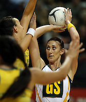 25.10.2012 South Africa's Chrisna Bootha in action during the England v Australia netball test match as part of the Quad Series played at the TSB Arena Wellington. Mandatory Photo Credit ©Michael Bradley.