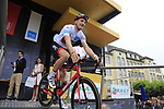 Young Rider leader White Jersey Stefan Kung (SUI) BMC Racing Team at sign on in Dusseldorf before the start of Stage 2 of the 104th edition of the Tour de France 2017, running 203.5km from Dusseldorf, Germany to Liege, Belgium. 2nd July 2017.<br /> Picture: Eoin Clarke | Cyclefile<br /> <br /> <br /> All photos usage must carry mandatory copyright credit (&copy; Cyclefile | Eoin Clarke)