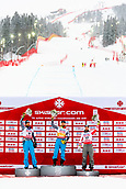 9th February 2019, ARE, Sweden; Aksel Lund Svindal, Kjetil Jansrud of Norway and Vincent Kriechmayr of Austria celebrate on the podium after the mens downhill during the FIS Alpine World Ski Championships on February 9, 2019 in Are.