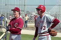 Cincinnati Reds infielder Todd Benzinger and pitcher Kent Tekulve (43) during spring training circa 1989.  (MJA/Four Seam Images)