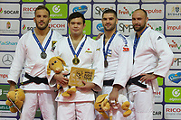 Gold medalist Aaron Wolf (2nd L) of Japan, silver medalist Karl-Richard Frey (L) of Germany with bronze medalists Jevgenijs Borodavko of Latvia and Peter Paltchik of Israel celebrate their victory during an awards ceremony after the Men -100 kg category at the Judo Grand Prix Budapest 2018 international judo tournament held in Budapest, Hungary on Aug. 12, 2018. ATTILA VOLGYI