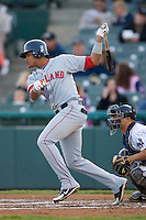 Argenis Diaz #11 of the Portland Sea Dogs follows through on his swing versus the Trenton Thunder at Waterfront Park May 12, 2009 in Trenton, New Jersey. (Photo by Brian Westerholt / Four Seam Images)