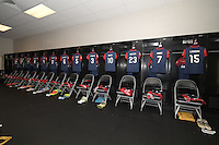 Houston, TX - Sunday Oct. 09, 2016: Washington Spirit locker room prior to a National Women's Soccer League (NWSL) Championship match between the Washington Spirit and the Western New York Flash at BBVA Compass Stadium.