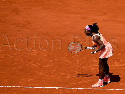 03.06.2015. Paris, France. Roland Garros French Open. Serena Williams of USA celebrates her victory over Sara Errani of Italy in their Women's Singles match on day eleven of the 2015 French Open 2015 in Paris, France. Williams won the match 7-6 6-4 to move into the semi finals