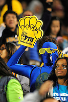 6 November 2010:  An FIU fan shows his spirit during the game as the FIU Golden Panthers defeated the University of Louisiana-Monroe Warhawks, 42-35 in double overtime, at FIU Stadium in Miami, Florida.