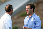 24 August 2004: Earthquakes head coach Dominic Kinnear (left) and Wizards General Manager Curt Johnson (right) talk before the game. The Kansas City Wizards defeated the San Jose Earthquakes 1-0 at Blue Valley District Athletic Complex in Overland Park, KS in a semifinal game in the 2004 Lamar Hunt U.S. Open Cup..