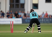 Mark Stoneman of Surrey is bowled by Daniel Bell-Drummond during Kent Spitfires vs Surrey, Vitality Blast T20 Cricket at the St Lawrence Ground on 23rd August 2019