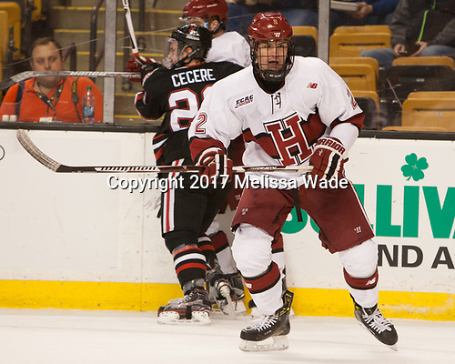 Tyler Moy (Harvard - 2) - The Harvard University Crimson defeated the Northeastern University Huskies 4-3 in the opening game of the 2017 Beanpot on Monday, February 6, 2017, at TD Garden in Boston, Massachusetts.
