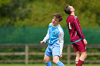Aaron Connolly (At age 15) of Mervue United U15 celebrates scoring a goal against Athenry. <br /> <br /> Mervue United v Athenry, 9/5/15, Fahy's Field, Mervue, Galway.