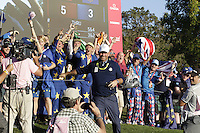 Thomas Bjorn Vice Captain joining in with some of the european supporters during the Friday afternoon fourball at the Ryder Cup, Hazeltine national Golf Club, Chaska, Minnesota, USA.  30/09/2016<br /> Picture: Golffile | Fran Caffrey<br /> <br /> <br /> All photo usage must carry mandatory copyright credit (&copy; Golffile | Fran Caffrey)