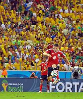 FORTALEZA - BRASIL -04-07-2014. James Rodriguez (#10) jugador de Colombia (COL) en acción durante partido de los cuartos de final  Brasil (BRA) por la Copa Mundial de la FIFA Brasil 2014 jugado en el estadio Castelao de Fortaleza./ James Rodriguez (#10) player of Colombia (COL) in action during the match of the Quarter Finals against Brazil (BRA) for the 2014 FIFA World Cup Brazil played at Castelao stadium in Fortaleza: Photo: VizzorImage / Alfredo Gutiérrez / Contribuidor