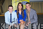 TROPHY: David O'Brien (2nd navitgator Class 10) and Sean Heagarty (2nd Class Navator 11) who were presented with their Galwayway Crystal Trophy at the Tralle Rally Club in association with Top Parts,Ballyroe Heights Hotel Tralee also in pic was Claire Nelligan.
