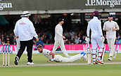 9th September 2017, Lords Cricket Ground, London, England; International test match series, third test, Day 3; England versus West Indies; England Bowler Stuart Broad picks himself up off the floor after narrowly missing a catch off his own bowling