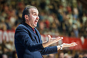 9th February 2018, Aleksandar Nikolic Hall, Belgrade, Serbia; Euroleague Basketball, Crvenz Zvezda mts Belgrade versus AX Armani Exchange Olimpia Milan; Head Coach Simone Pianigiani of AX Armani Exchange Olimpia Milan reacts