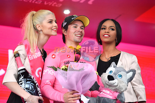Race leader Primoz Roglic (SLO) Team Jumbo-Visma retains the Maglia Rosa at the end of Stage 3 of the 2019 Giro d'Italia, running 220km from Vinci to Orbetello, Italy. 13th May 2019<br /> Picture: Massimo Paolone/LaPresse | Cyclefile<br /> <br /> All photos usage must carry mandatory copyright credit (© Cyclefile | Massimo Paolone/LaPresse)