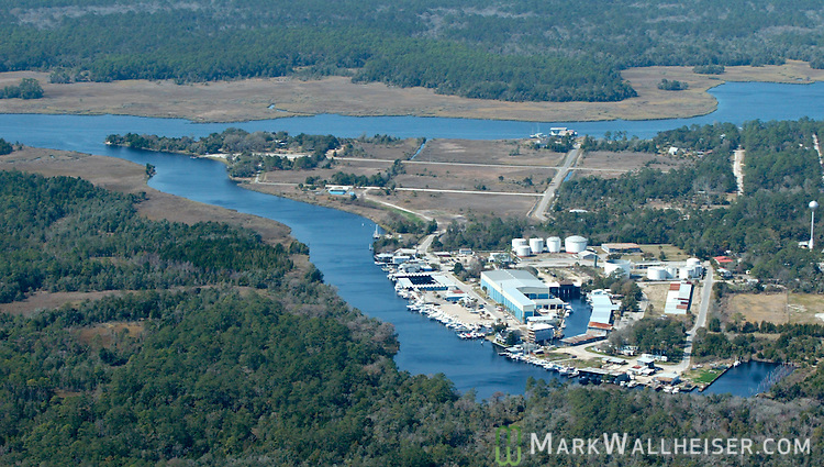 Aerial photo of Shields marina and the city of St Marks, Florida located where the St Marks River (foreground) and the Wakulla River come together on the coast of Wakulla County south of Tallahassee March 2, 2004.    (Mark Wallheiser/TallahasseeStock.com)
