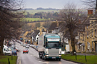 Heavy Goods Vehicle on Burford High Street, Oxfordshire, United Kingdom