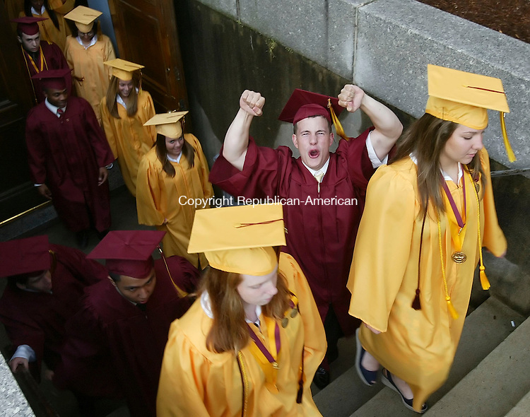 WINSTED, CT 6/01/07- 060107BZ13-  Dennis Bilodeau shows his excitment on the way<br /> to the start of the 81st Annual Commencement Excercises for Sacred Heart High School in Waterbury Friday.  <br /> Jamison C. Bazinet Republican-American