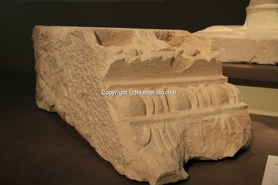 A decorated cornice from Herod's mausoleum in Herodion, 15-4 BC, on display at the Israel Museum