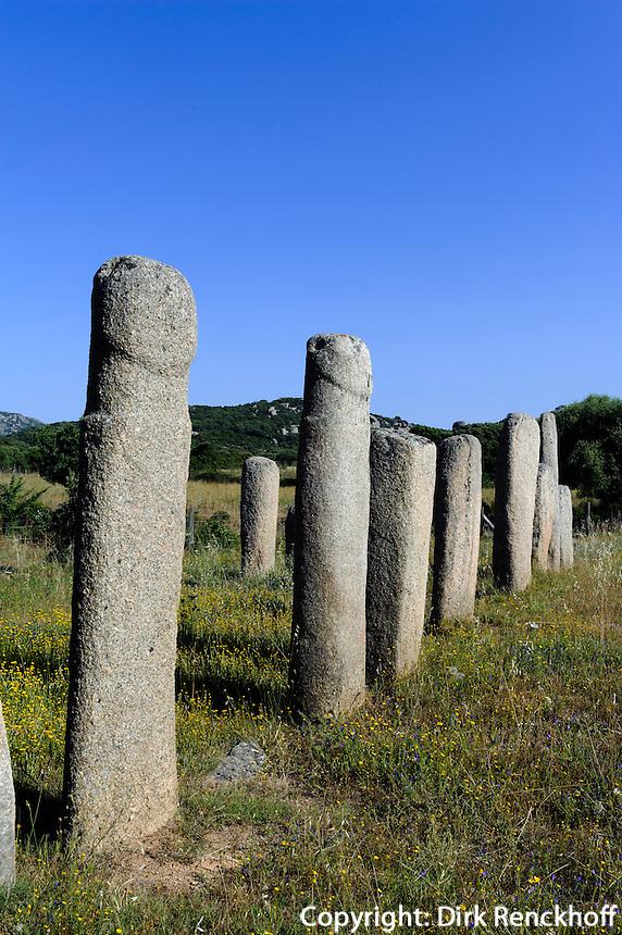 Prähistorische Funde von Cauria, Menhire Alignement d' Stantari, Korsika, Frankreich