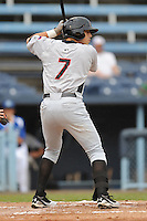 Hickory Crawdads Jake Skole #7 awaits a pitch during a  game against the Asheville Tourists at McCormick Field in Asheville,  North Carolina;  June 12, 2011.  The Crawdads won the game 12-3.  Photo By Tony Farlow/Four Seam Images