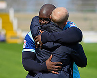 Adebayo Akinfenwa of Wycombe Wanderers embraces Yeovil Town Manager Darren Way during Yeovil Town vs Wycombe Wanderers, Sky Bet EFL League 2 Football at Huish Park on 14th April 2018