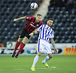 Kilmarnock v St Johnstone...06.12.14   SPFL<br /> Frazer Wright gets above Lee Miller<br /> Picture by Graeme Hart.<br /> Copyright Perthshire Picture Agency<br /> Tel: 01738 623350  Mobile: 07990 594431