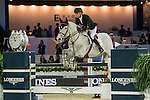 Jerome Guery of Belgium riding Papillon Z  during the Hong Kong Jockey Club Trophy competition, part of the Longines Masters of Hong Kong on 10 February 2017 at the Asia World Expo in Hong Kong, China. Photo by Marcio Rodrigo Machado / Power Sport Images
