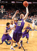 Jan. 2, 2011; Charlottesville, VA, USA; LSU Tigers forward Eddie Ludwig (13) shoots the ball during the game against the Virginia Cavaliers at the John Paul Jones Arena. Virginia won 64-50. Mandatory Credit: Andrew Shurtleff-