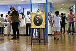 Visitors shopping at the National Museum of Western Art in Ueno Park on July 18, 2016, Tokyo, Japan. The UNESCO World Heritage Committee decided to add Japan's National Museum of Western Art designed by the Swiss-French architect Le Corbusier to the World Heritage list during a meeting in Istanbul on Sunday. The museum which was completed in 1959 is the only Japanese structure designed by the world renowned architect. (Photo by Rodrigo Reyes Marin/AFLO)