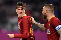 Nicolo Zaniolo of AS Roma celebrates with Daniele De Rossi after scoring goal of 1-1 during the Serie A 2018/2019 football match between AS Roma and AC Milan at stadio Olimpico, Roma, February 3, 2019 <br />  Foto Andrea Staccioli / Insidefoto