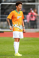 London, UK on Sunday 31st August, 2014. Jai Brooks of The Janiskians during the Soccer Six charity celebrity football tournament at Mile End Stadium, London.