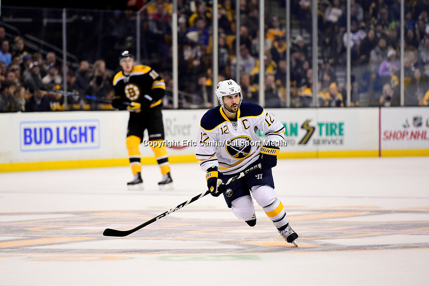 Saturday, December 31, 2016: Buffalo Sabres right wing Brian Gionta (12) in game action during the National Hockey League game between the Buffalo Sabres and the Boston Bruins held at TD Garden, in Boston, Mass. Boston defeats Buffalo 3-1.  Eric Canha/CSM