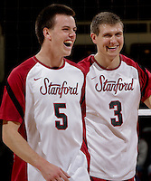 STANFORD, CA - January 13, 2012:  Brian Cook and Gus Ellis during Stanford's 25-13, 20-25, 25-14, 25-14 victory over Juniata in Stanford, California on January 13, 2012.