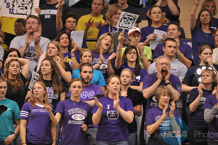 15 MAR 2008:  Truman State University fans cheer on the women's 1650 freestyle swim during the Division II Swimming and Diving Competition held at the Mizzou Aquatic Center in Columbia, MO.  The Truman girl's team placed first overall to win the national title with a total score of 461.5 points..John Tully/NCAA Photos