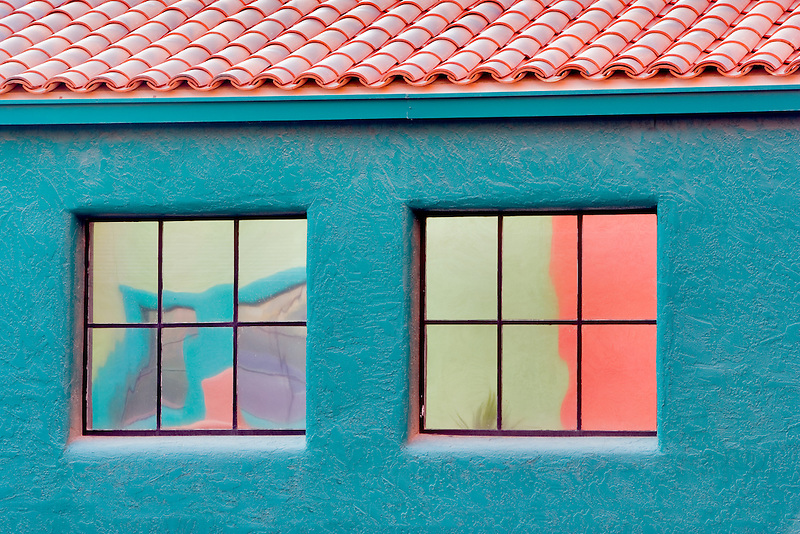 Colorful reflection in windows in La Placita Village. Tucson. Arizona