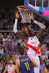 League ACB-ENDESA 2017/2018.<br /> PlayOff-Semifinal-Game: 3<br /> FC Barcelona Lassa vs Kirolbet Baskonia: 67-65.<br /> Juan Carlos Navarro vs Ilimane Diop.