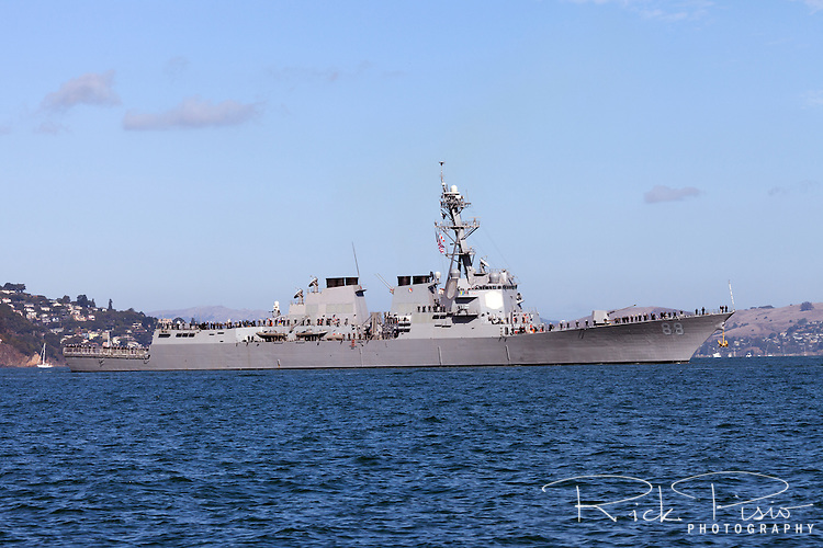 The Arleigh Burke class desroyer USS Preble (DDG-88)on San Francisco Bay.