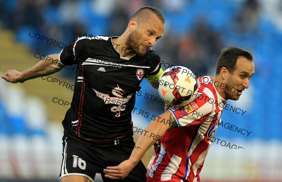Fudbal Jelen super league season 2013-2014<br /> Crevna Zvezda v Vozdovac<br /> Dragan Mrdja (R) and Goran Dragovic (L)<br /> Beograd, 03.29.2014.<br /> foto: Srdjan Stevanovic/Starsportphoto&copy;