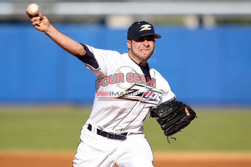 Akron Zips pitcher Alex Loftin #7 during a game vs the Michigan State Spartans at Chain of Lakes Park in Winter Haven, Florida;  March 12, 2011.  Michigan State defeated Akron 5-1.  Photo By Mike Janes/Four Seam Images