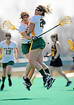 5 April 2008: University of Vermont Catamounts' Attackman Sarah DeStefano (right), a Junior from Eliot, ME, celebrates scoring the winning goal with UVM Attackman Emilie Clark (left), a Senior from Calais, VT, against the University at Albany Great Danes at Moulton Winder Field, in Burlington, Vermont. The Catamounts rally defeated the visiting Danes 11-10 in America East conference play...Mandatory Photo Credit: Ed Wolfstein Photo