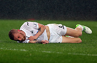 Pictured: Oliver McBurnie of Swansea City rolls on the pitch after a challenge Monday 15 May 2017<br /> Re: Premier League Cup Final, Swansea City FC U23 v Reading U23 at the Liberty Stadium, Wales, UK