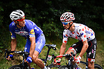 Polka Dot Jersey Julian Alaphilippe (FRA) and Philippe Gilbert (BEL) Quick-Step Floors from the breakaway group in action during Stage 16 of the 2018 Tour de France running 218km from Carcassonne to Bagneres-de-Luchon, France. 24th July 2018. <br /> Picture: ASO/Pauline Ballet | Cyclefile<br /> All photos usage must carry mandatory copyright credit (© Cyclefile | ASO/Pauline Ballet)