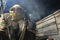 We leave the apiary but in the back of the pick-up a beekeeper smokes the hives' honey-filled supers to prevent a pillage.///Nous quittons le rucher mais dans le plateau arrière du véhicule un apiculteur enfume les hausses de ruche remplies de miel pour éviter le pillage.