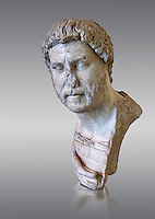 Roman marble portrait bust of Emperor Hadrian, 117-138 AD found in the Horti Tauriani, Rome.  The bust portrays an elderly Hadrian with a well worn expression from around 130AD. An enthusiastic builder Hadrian rebuilt the Pantheon and constructed the Temple of Venus and Roma as well as building Hadrian's Wall, which marked the northern limit of Roman Britain. His villa at Tivoli also showed Hadrian passion for water and Roman baths. Hadrian was regarded by some as a humanist and was philhellene in most of his tastes. He is regarded as one of the Five Good Emperors.  MC inv 890, Capitoline Museums, Rome